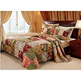 Green Cotton with Reversible, 3-Piece Queen Bedspread Set, Floral Pattern and French Country Style, Includes Cross Scented Candle Tart