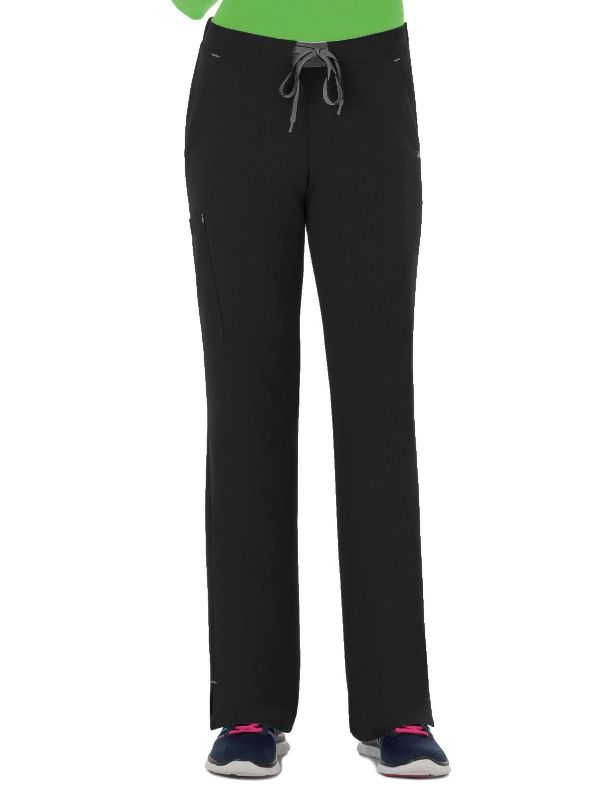 Modern Fit Collection by Jockey Women's Convertible Drawstring Scrub Pant Medium Petite Black