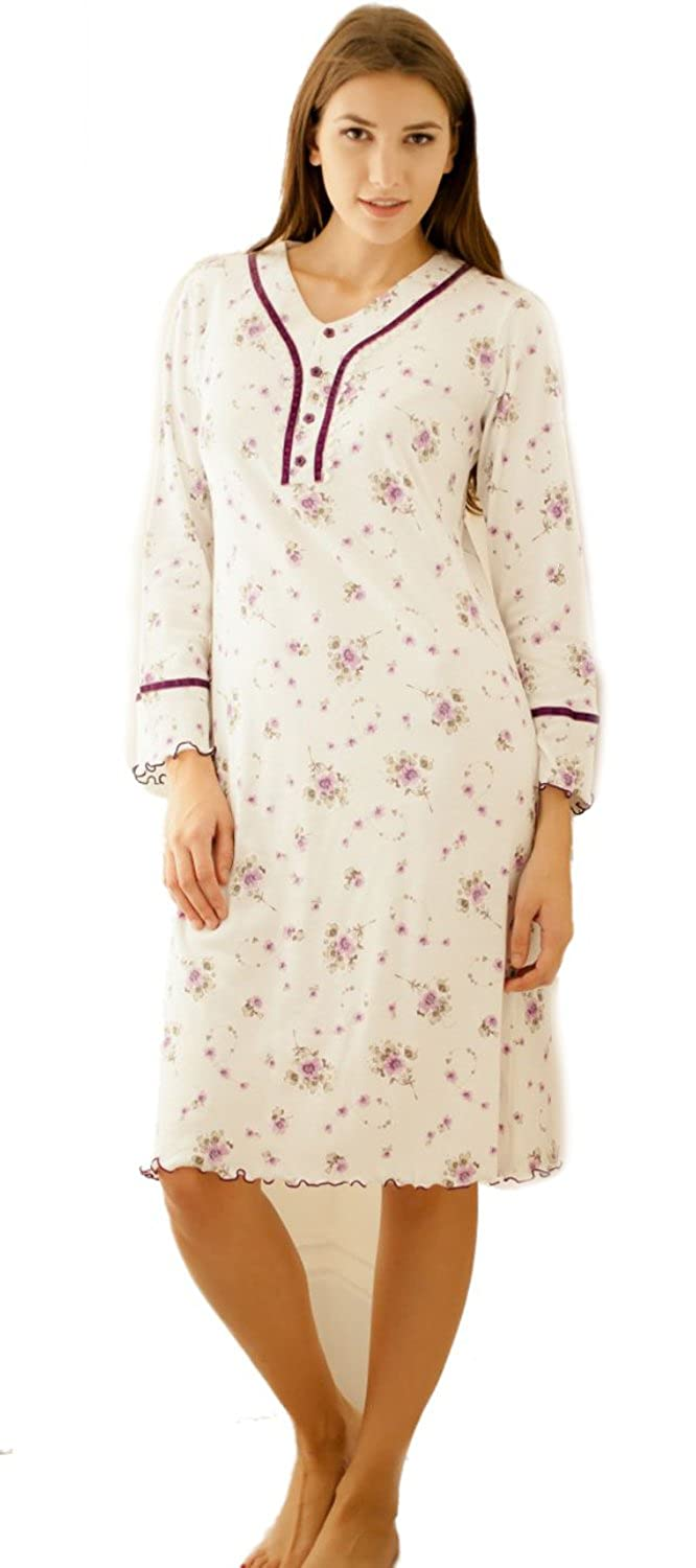 Cottonreal 100% Combed Cotton Bouquet Floral V Ruffle Nightdress Plum or Midnight Blue Small to X Large
