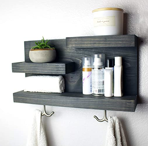 . Bathroom Shelf Organizer with Towel Hooks   Modern Farmhouse   100   HANDMADE IN USA