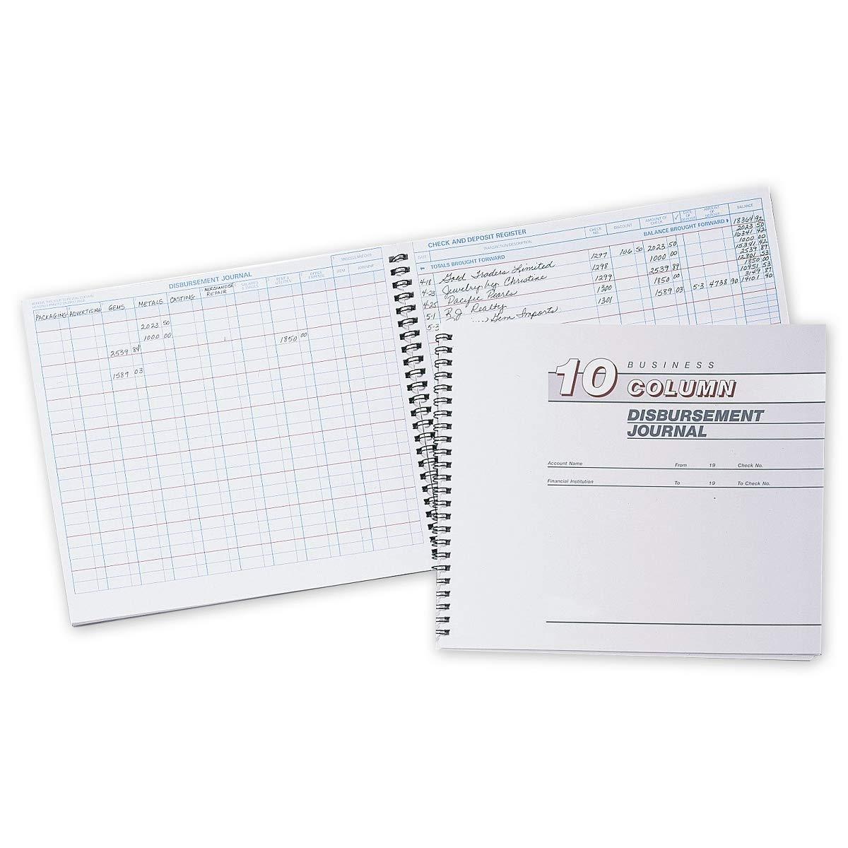 CheckSimple Cash Receipts Journal - 10 Column Disbursement Journal (3 Books) by CheckSimple