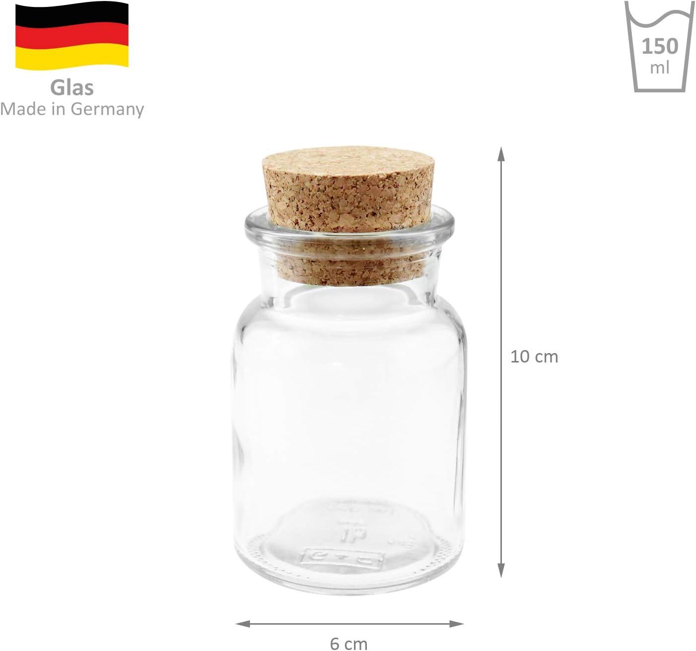 vasos /ØxH /150/ml 6/x 10/cm 24/wellgro/® tarros de especias con tap/ón de corcho/ fabricado en Alemania