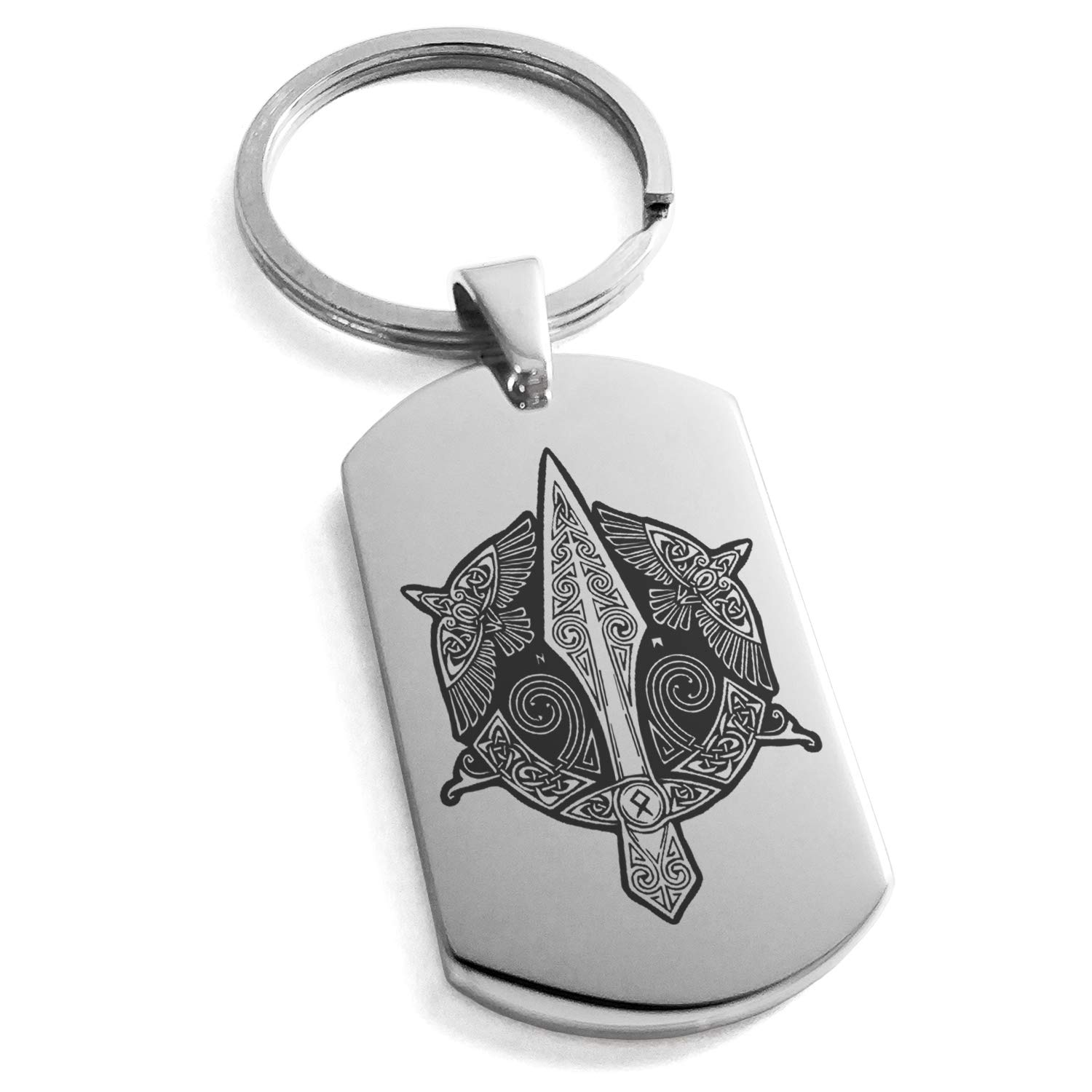 Tioneer Stainless Steel Gungnir Odin's Spear Viking Norse Symbol Engraved Dog Tag Keychain Keyring