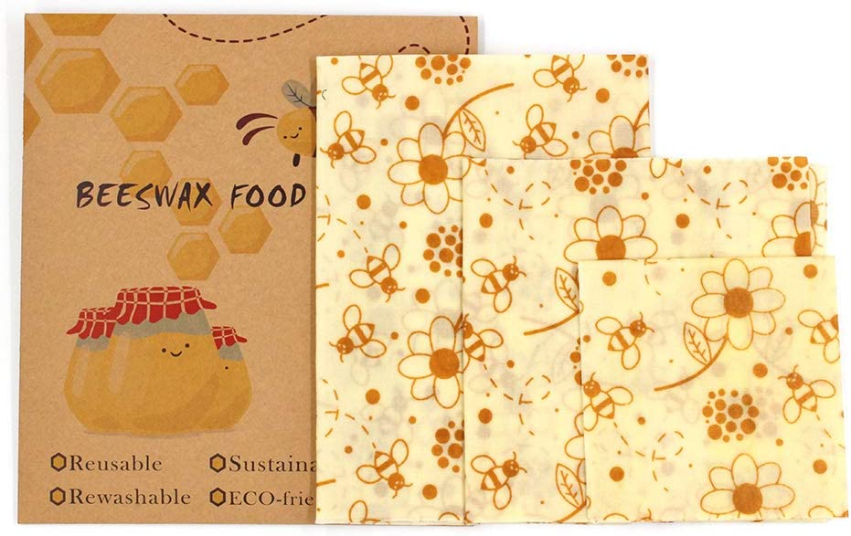 Reusable Beewax Wrap Set - Eco Friendly Food Wraps - Sustainable - Zero Waste - Plastic Free Alternative for Food Storage - 1 Small - 1 Medium - 1 Large