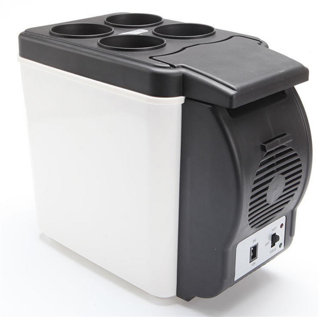 Nevera elé ctrica de 6 L para coche AUTOINBOX, mini nevera portá til de 12 V, multifunció n de calentador y enfriador (blanco y negro)