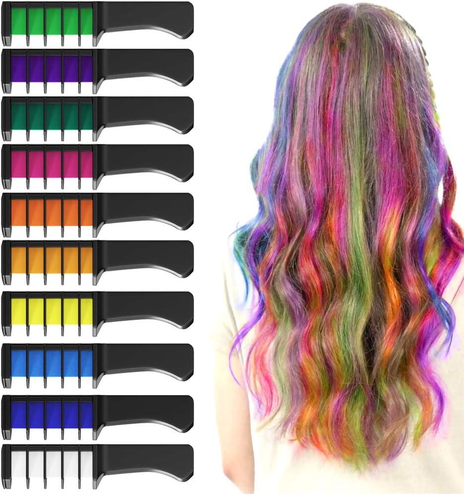 XIMU Tiza para el cabello, Tintes capilares con tiza Pluma de tinte temporal para el cabello de destello metálico No tóxico Lavable Pastel de pelo ...