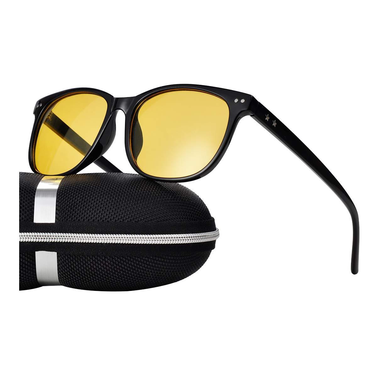 Night Vision Driving Glasses Polarized Anti-glare Clear Sun Glasses Men & Women Fashion (Black-1, 56)