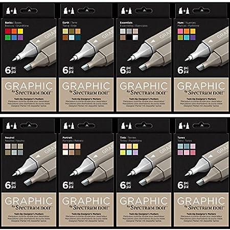 Spectrum Noir 6pk Art Tints Craft Alcohol Marker Pen Graphic Nib Set