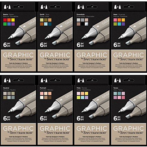 Spectrum Noir - Art + Craft Alcohol Marker Pen Graphic Nib Set - All Sets (48pk) by Spectrum Noir