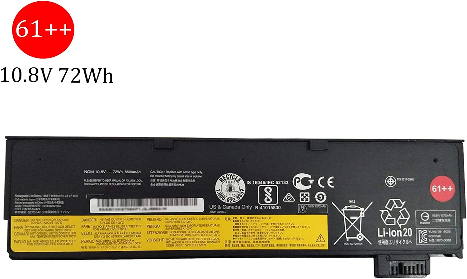 BOWEIRUI SB10K97585 (11.25V 72Wh 6320mAh) Laptop Battery Replacement for Lenovo ThinkPad TP25 P52S P51S T470 T570 T480 T580 Series 61++ 01AV492 01AV427 4X50M08812 01AV428 SB10K97584 61++