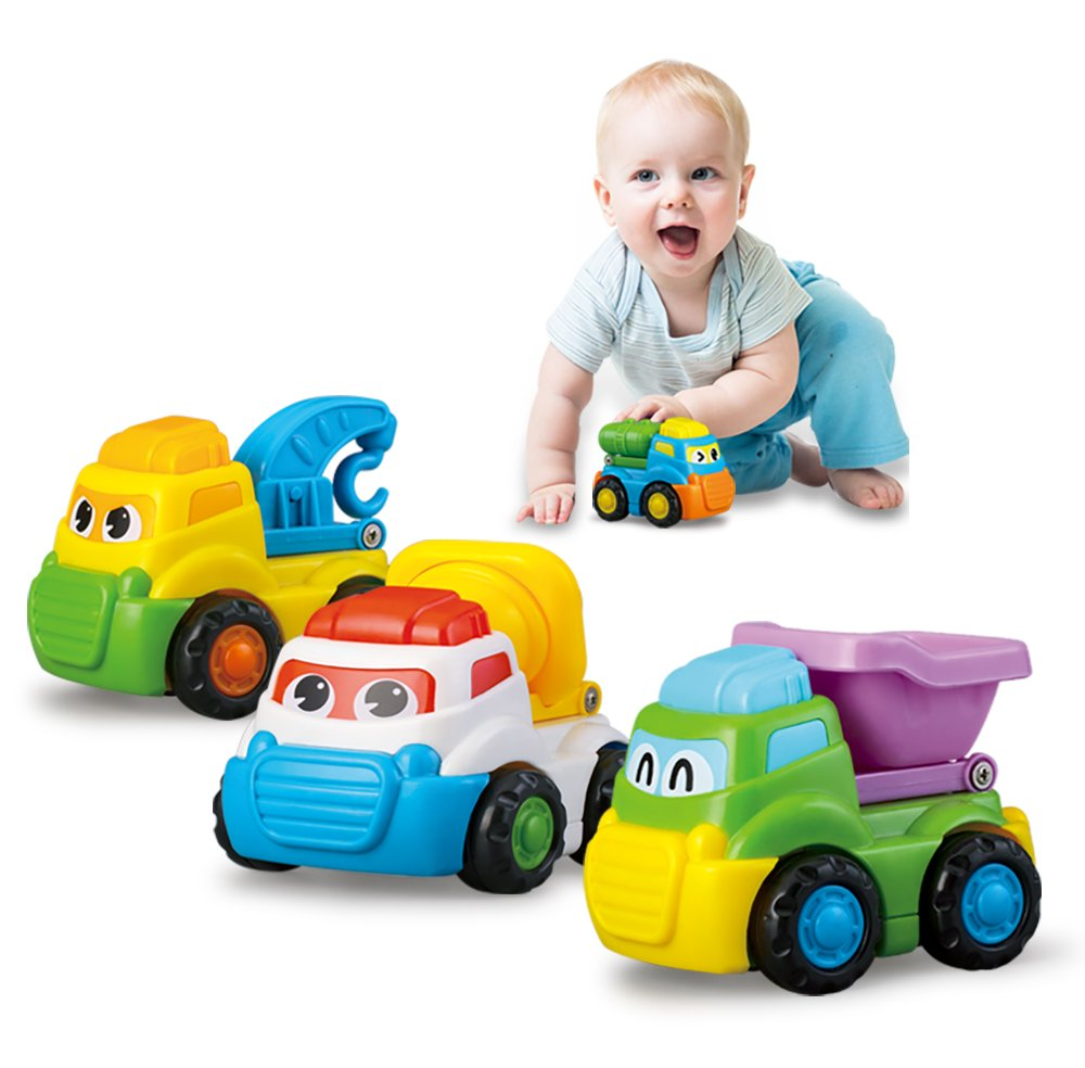 Toy Car, HALOFUN 4 Pack Push and Go Friction Powered Car Toys Set for Baby Toddlers