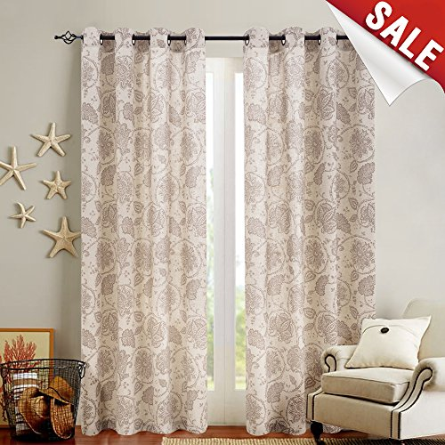 Floral Scroll Printed Linen Curtains, Grommet Top - Ikat Flax Textured Medallion Design Retro Living Room Curtain Sets (Taupe, 50