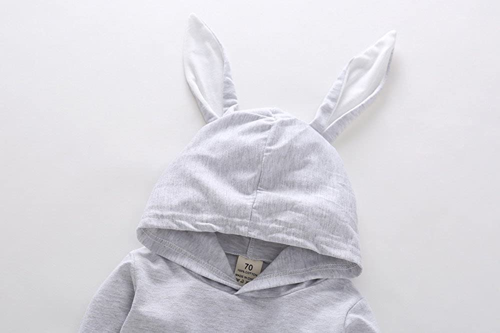 Baby Girls Boys Cartoon Rabbit Ear Hooded Romper Jumpsuit Outfits