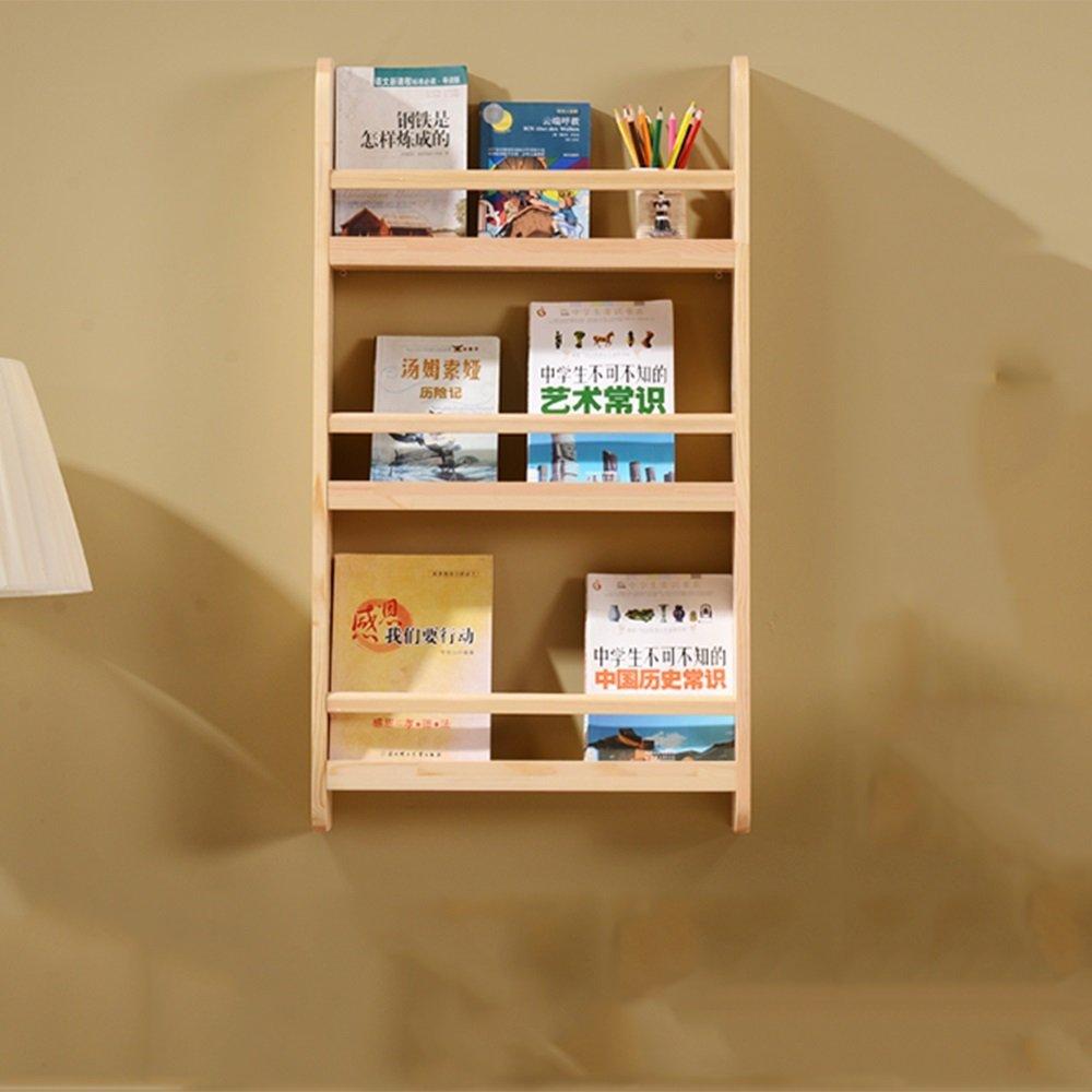 YCT クリエイティブ子供壁本棚壁無垢材本棚雑誌棚装飾的な壁棚ディスプレイ棚棚 (Color : Wood, サイズ : Three layers) B07RMYG9BF Wood Three layers