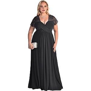 Dilanni Elegant Lace Half Sleeve Black Formal Floor Length Evening ...