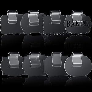 8 Pieces Kitchen Clip Holders Label Basket Bin Label Holders Storage Basket Hanging Clip Tag Removable Acrylic Bin Labels Holder with 40 Pieces Pantry Label Stickers (Transparent Clip, Black Label)