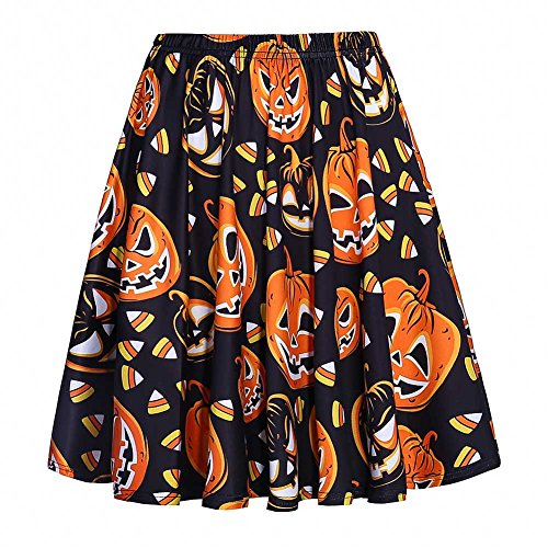 (Fancyqube Women's Elastic Waist Cute Pumpkin Print Flared Mini Skirt Black 2XL)