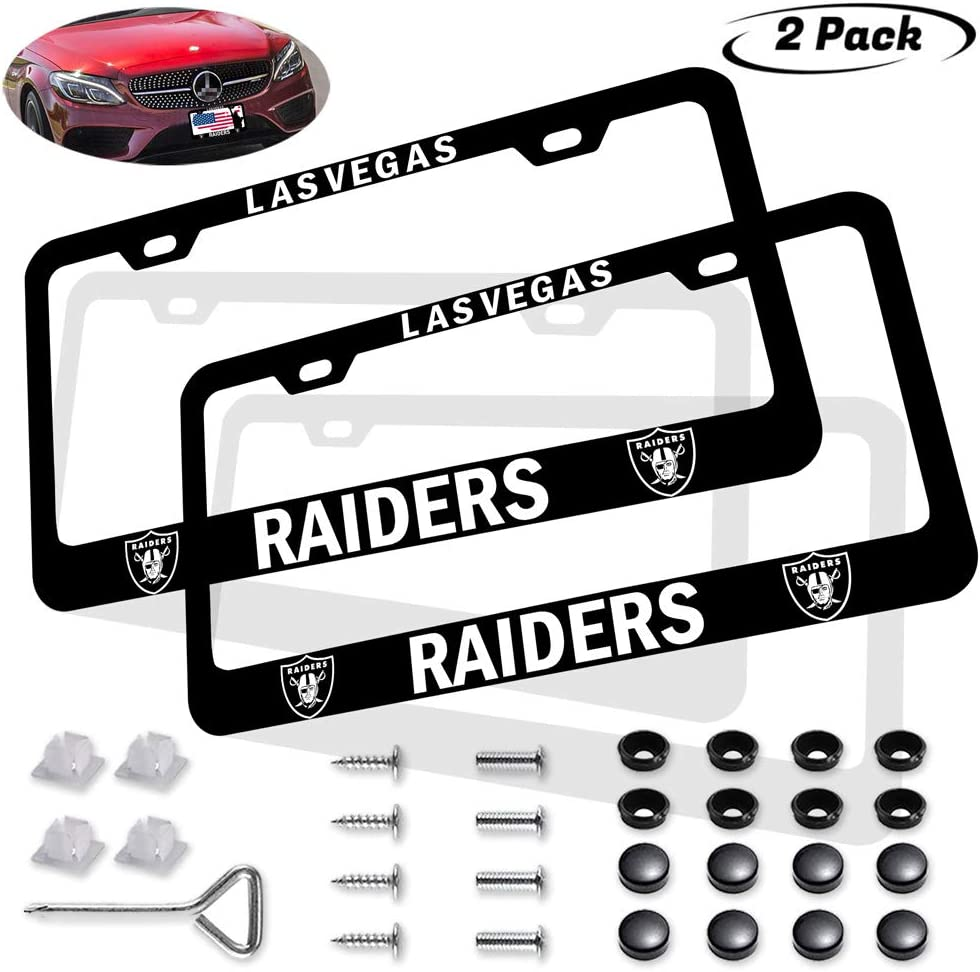 fit 49ers123 2PCS Fit San Francisco 49ers Team Tag License Plate Frame Car Accessories,The Latest Black Aluminum Alloy 49ers License Plate Frame,License Plate Frame for American Car Standard Size