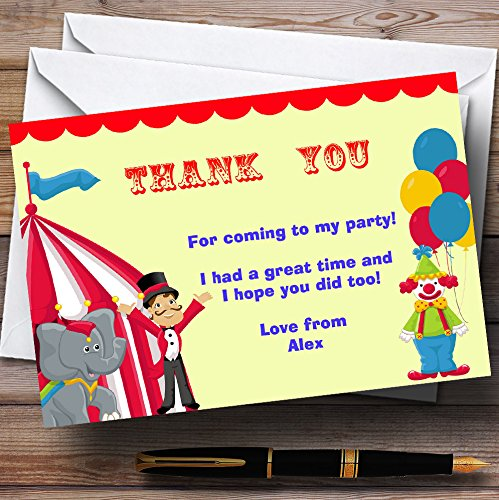 Circus Clown And Tent Personalized Birthday Party Thank You (Circus Tent Invitations)