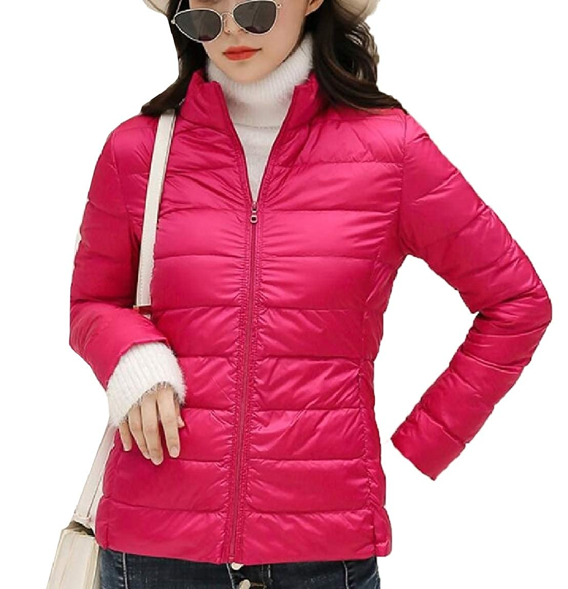 2 omniscient Women Lightweight Solid Stand Collar Long Sleeve Down Jacket