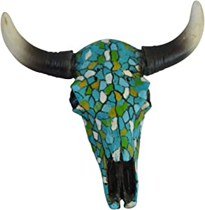 Pine Ridge Southwestern Magnetic Mosaic Skull Steer Bull Head Rustic Chic Wall Hanging Texas Decor -Strong and Durable Polyresin Made Aged Finish Sculpture Replica of Real Steer Head Skull Gift Idea