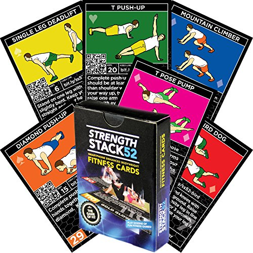 Stack 52 Bodyweight Exercise Cards: Strength Workout Playing Card Game. Designed by a Military Fitness Expert. Video Instructions Included. No Equipment Needed. Burn Fat and Build Muscle at Home.