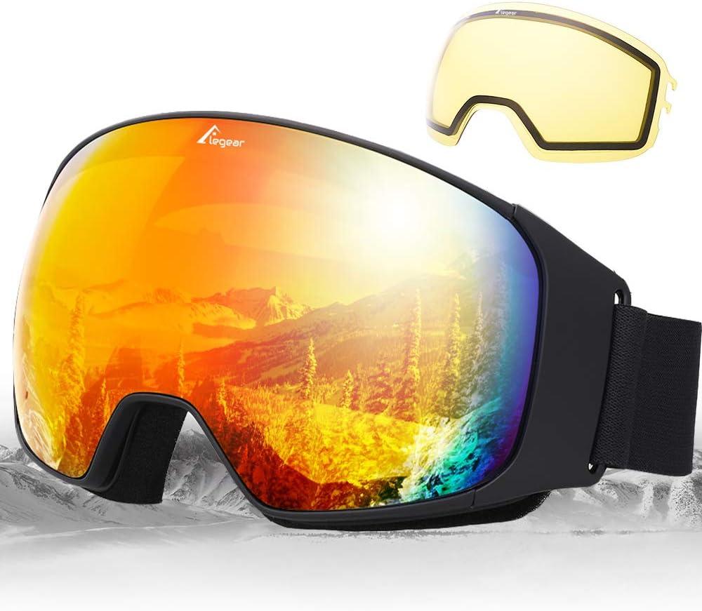 Elegear Gafas de Esquí Gafas Snowboard Hombre y Mujer Lente Entero Campo Visual Lentes Antiniebla,100% UV400 Protección, Magnéticos Esférica Lentes