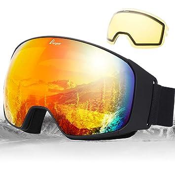 b0d121d698 Elegear Ski Gafas Snowboard Gafas Esquí Lente Substituible Montura Entera  Campo Visual Máximo Lentes Antiniebla UV Protección 100% Hombre y Mujer  (Rojo): ...