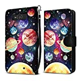 Motorola Droid Mini XT1030 Case, FINCIBO Ultra Slim Protective Carry Flip Canvas Wallet Pouch Case with Credit Card Holder TPU Cover, Planet Solar System
