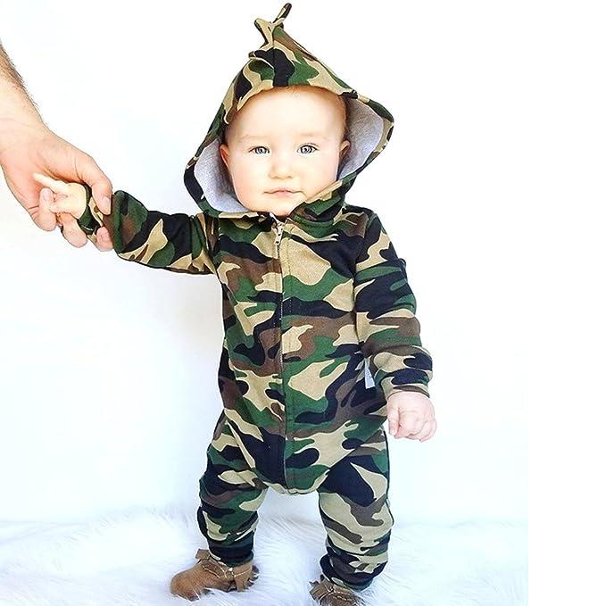 921886bed Amazon.com  FansIn Newborn Baby Boys Girls Hooded Camouflage Romper ...
