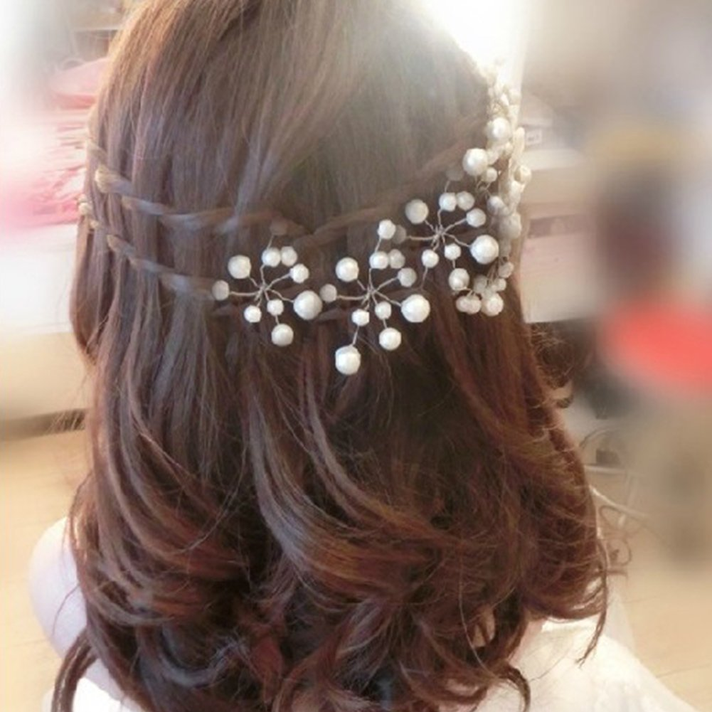 Cheap4uk 20Pcs White Pearl Flower Rhinestone Party Wedding Bridal Hair Pins Clips Grips