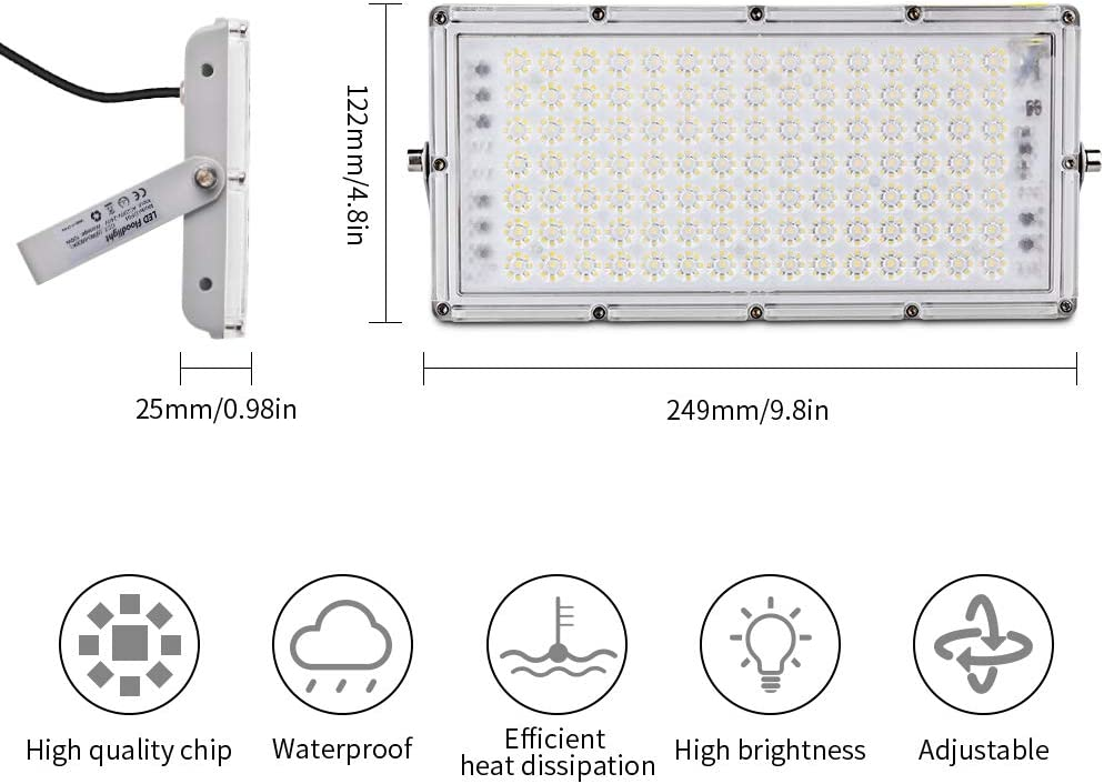 Garden Garage cool200W,X8 Led Flood Lights Outdoor Waterproof IP65 Super Bright Security Lights for Yard Patio Playground Basketball Court