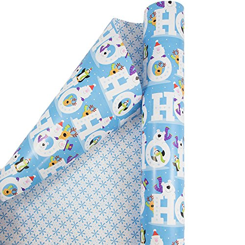 - JAM PAPER Gift Wrap - Christmas Wrapping Paper - Double-Sided Mega Jumbo Roll - 366 Sq Ft - Ho Ho Ho w/Animated Characters - Roll Sold Individually