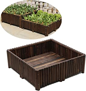 LDM Raised Garden Bed, Wooden Raised Garden Bed Box Kit Raised Planter Box for Vegetables Natural Wood 120X120x40cm