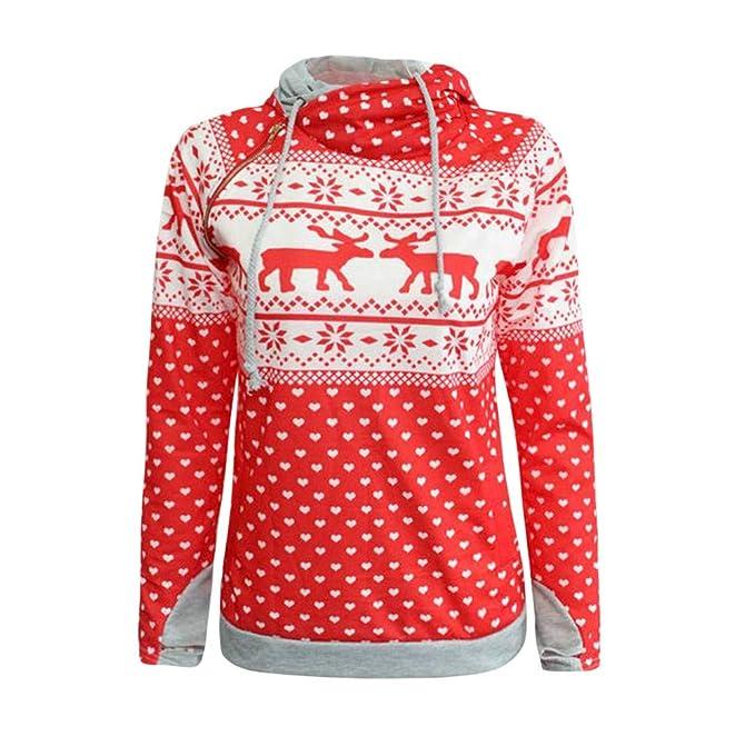 ☺Sweatshirts Hoodies Damen Oberteil Hemd T-Shirt Pullover Locker Sport  Freizeit Premium Kleidung mit Kapuzen Weihnachtsfrauen Kapuzenpullover  Blumenmuster ... f2649b41cd