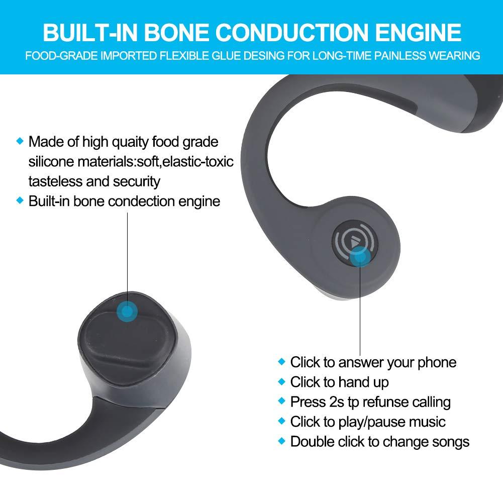 GlobalCrown Casque Conduction Osseuse Bluetooth,Ecouteurs Conduction osseuse sans Fil Oreillette Bluetooth avec Microphone HD pour l\'écoute du Sport Cyclisme Courir Gym (5 Heures de Temps de Jeu)
