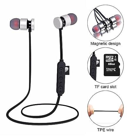 KOBWA Auriculares Inalámbricos Bluetooth,Auriculares Ligeros de Oreja Magnética Resistente Agua Auriculares de Apoyo Micro SD/TF Tarjeta De ...