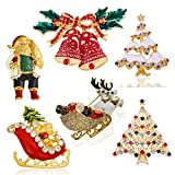 Sewanz Women's 6 Pcs Gold Tone Christmas Theme Brooch Pins Set, Xmas Decorations Gift