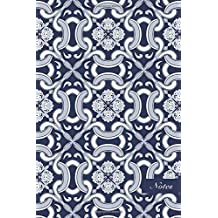 """Notes: 6""""x9"""" Unruled Blank Notebook Navy Blue Curve Spiral Curve Cross Botanic Garden Flower Vine Seamless Pattern Cover. Matte Softcover Note Book Journal"""