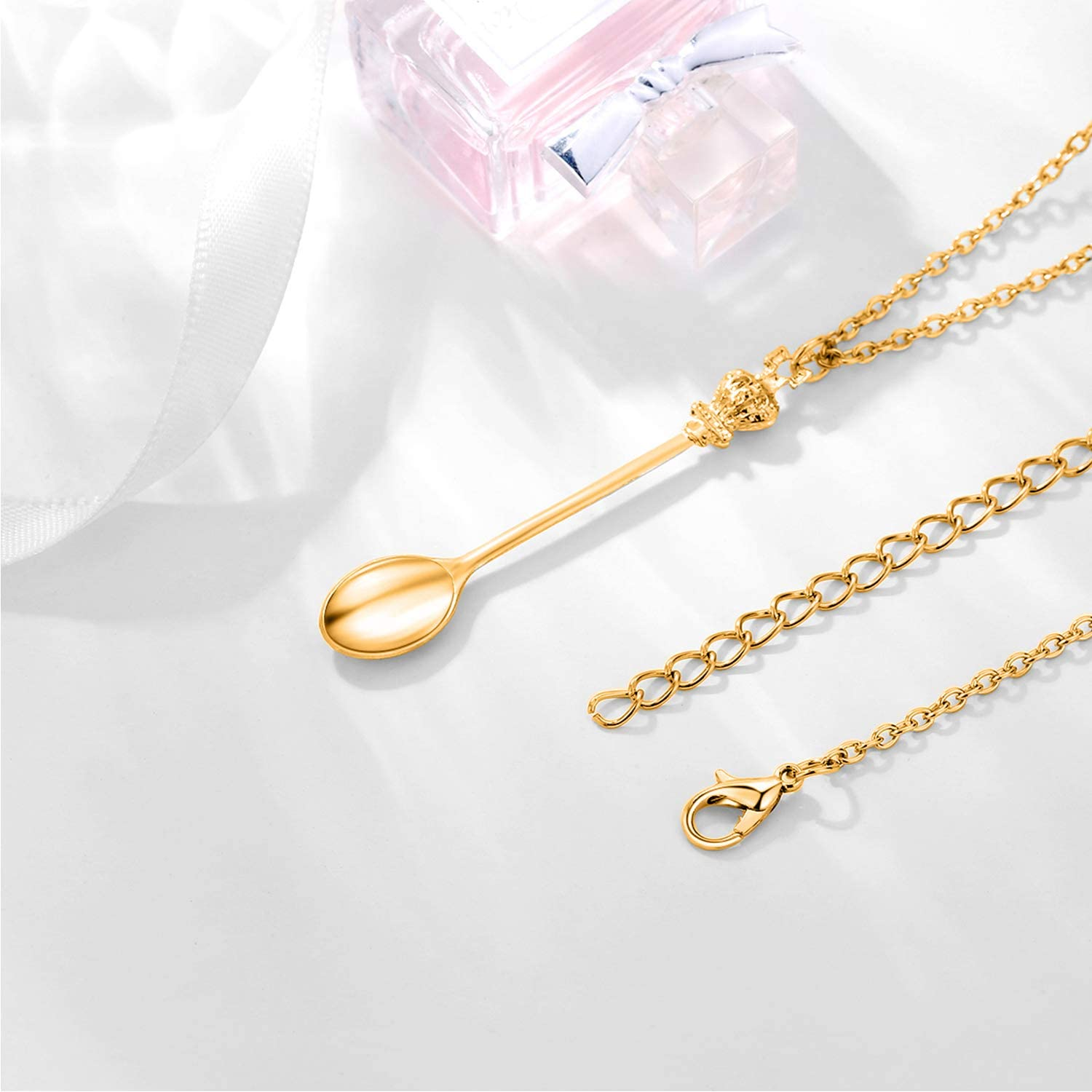 EVBEA Spoon Necklace Adjustable Mini Tea Spoon Pendant Spoon Necklace Chain Women Girls with Jewelry Gifts Box
