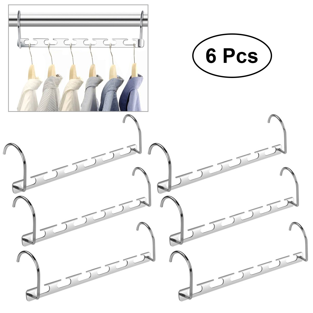 HEALIFTY 6pcs Multifunction Wardrobe Closet Bar Clothes Coat Hanger Organizer (Silver)