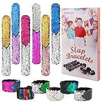 Satkago 12 Pcs Reversible Sequin Mermaid Slap Bracelets, Two-Color Decorative Flip Wristband Bracelet, Great Birthday Mermaid Gymnastics Dance Party Favors, Gifts, Prizes Kids, Girls, Boys, Women