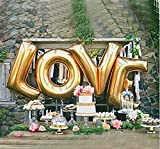 5I Gold LOVE Balloons 16'' Aluminum Film Balloons for Wedding Bridal Shower Anniversary Engagement Valentine's Day Birthday Party Decorations B006