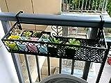 Railing Flower Box Holder Plants Hanging Basket Adjustable Flower Box Holder Black Color