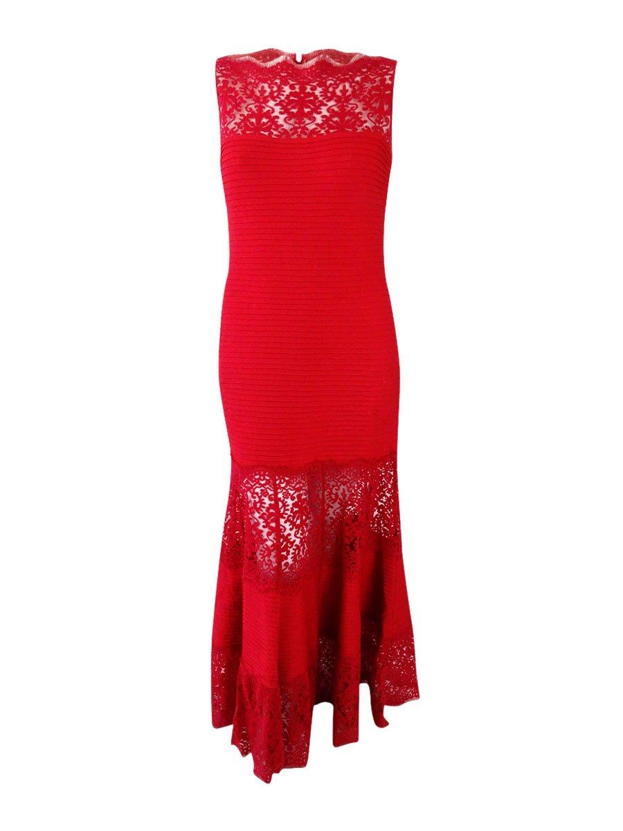 Tadashi Shoji Women's Pintucked Jersey Boatneck Gown (XL, Deep Red) by Tadashi Shoji (Image #1)