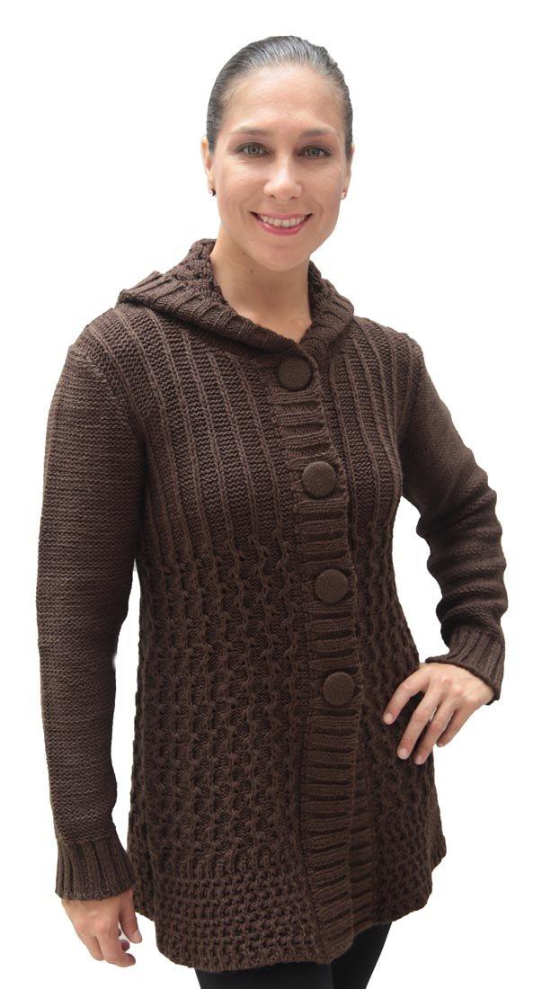 Superfine Alpaca Wool Hooded Hoodie Sweater Coat Womens (XLarge, Brown)