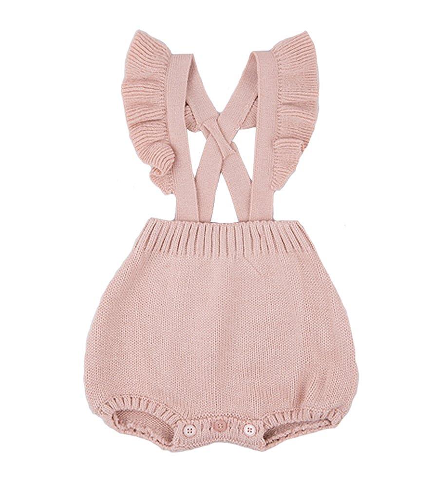 Chulianyouhuo Baby Girls Knitted Ruffle Cute Romper Cross Bandage Jumpsuit Bodysuit