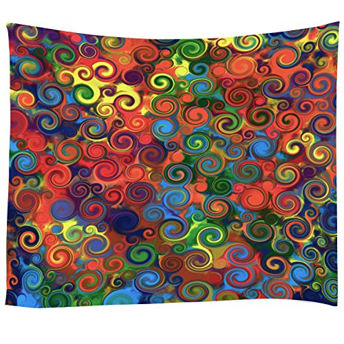 - Pamime Home Decor Tapestry for Abstract Art Rainbow Circles Swirl Colorful Pattern Music Wall Tapestry Hanging Tapestries for Dorm Room Bedroom Living Room (50x60 Inches(130x150cm) Tapestry)