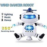 Kaluo 360 Degree Rotating Electric Toy Robot Light Music Dancing Robot Figures