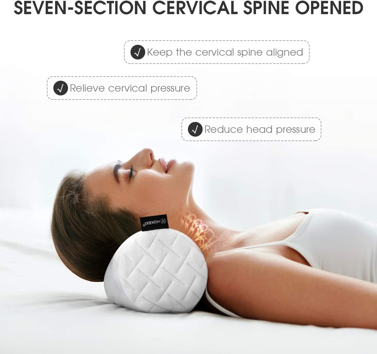 """HOKEKI Cervical Bolster Round Pillow and Memory Foam Neck Roll for Neck, Spine, Lumbar Traction, Spondylosis Pain Relief with Washable Coat, 4"""" Diameter x 18 """"Length (White): Home & Kitchen"""